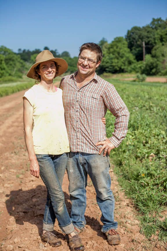 Anne and Aaron Grier of Gaining Ground Farm in Leicester, North Carolina.