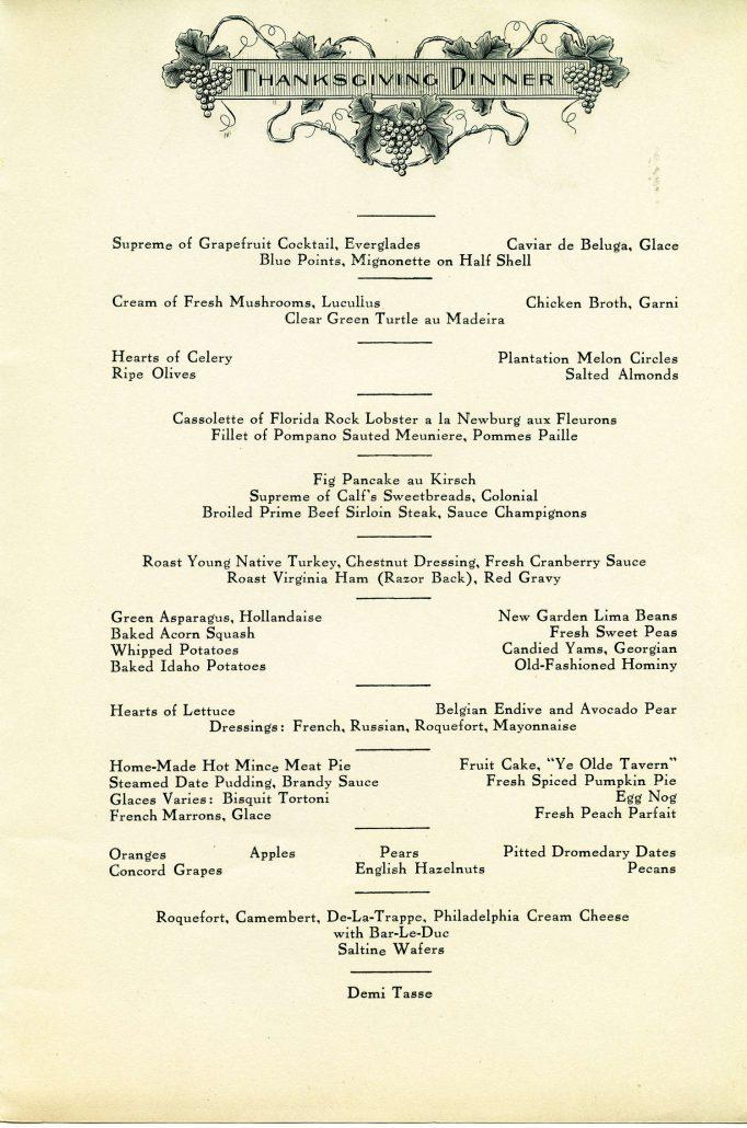 Menu for Thanksgiving dinner at the Grove Park Inn, 1928.
