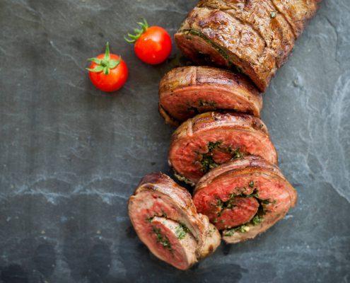 Kale-Peanut Pesto Rolled Flank Steak