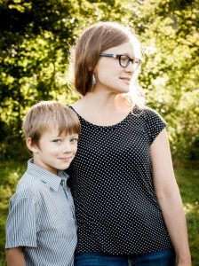 Amy Ager with her son at Hickory Nut Gap Farm in Fairview, North Carolina
