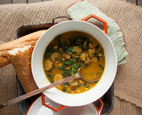 Quick Cassoulet of Sausage, Beans, and Kale
